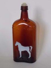 White Horse Distillery Glasgow Scotland embossed brown amber Whiskey Bottle