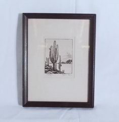 Richardson Rome Etching GIANT SAGUARO – Framed