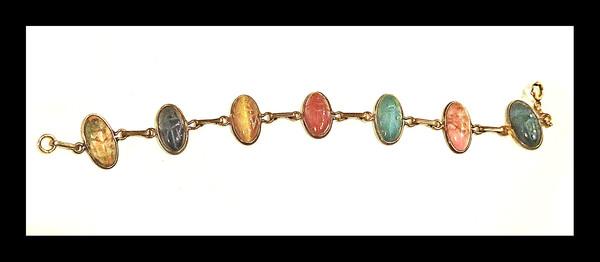 Vintage 1940s Gold Filled Scarab Bracelet