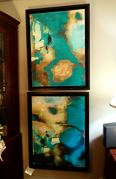 Framed Abstract Pair of Paintings by Barredo