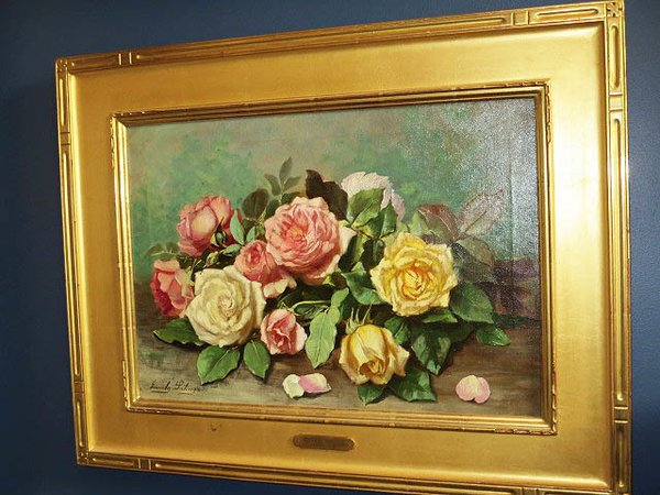 Framed Floral Painting by Emily H. McGary Selinger