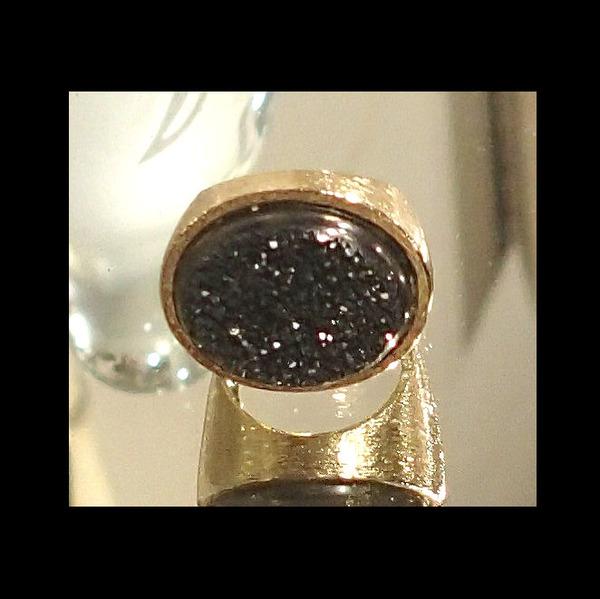 Cocktail Ring w/ Black Rough Hewn Stone