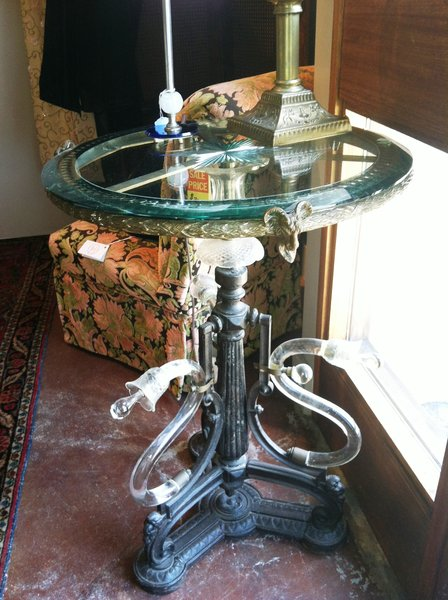 Victorian 19th Century Antique Round Glass Top Table on Cast Iron and Glass Base, Ram Head Accents