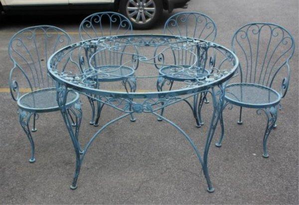 Woodard Vintage Iron Outdoor Furniture With Rose Motif