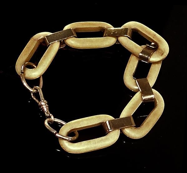 Antique Ivory and Sterling Silver Link Bracelet