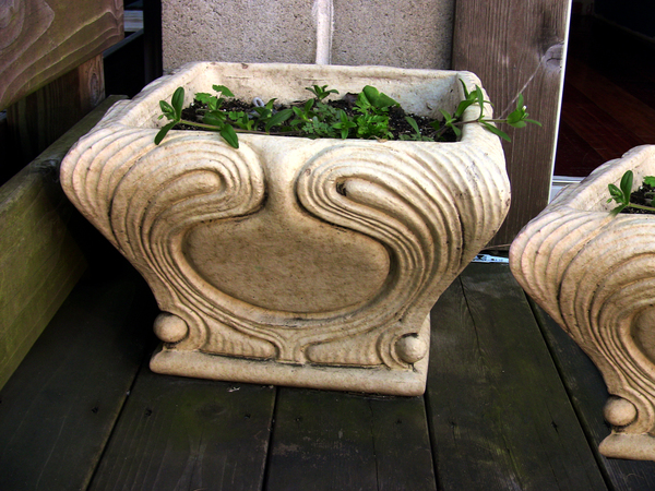 Art Nouveau Pair of Glazed Terra Cotta Planters 1900's from Denver Terracotta Company