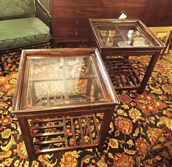 Pair of Asian Side Tables with Beveled Glass Top