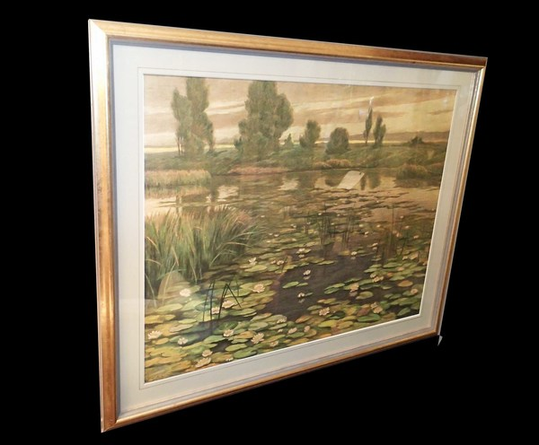 Framed Pastel of Landscape with Lily Pond by W. Schacht