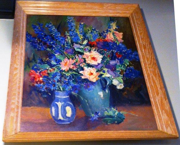 Framed 1930's Oil On Board Signed Julia Sulzer Griffith, Still Life of Floral Vases, Cerused Oak Frame