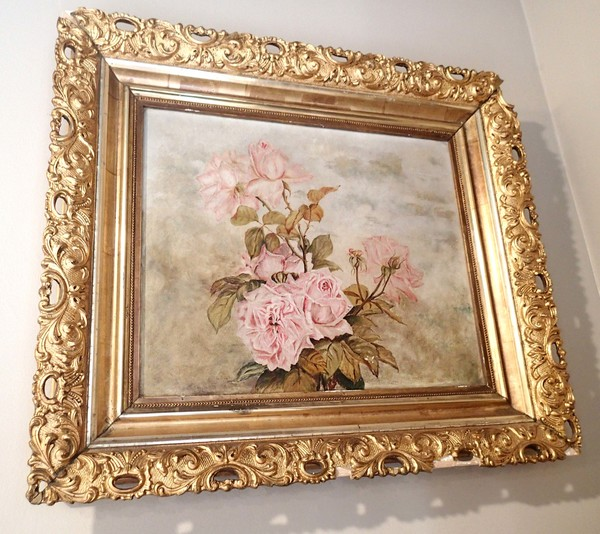 Framed Victorian Oil on Canvas of Roses w/Original Gilt Frame