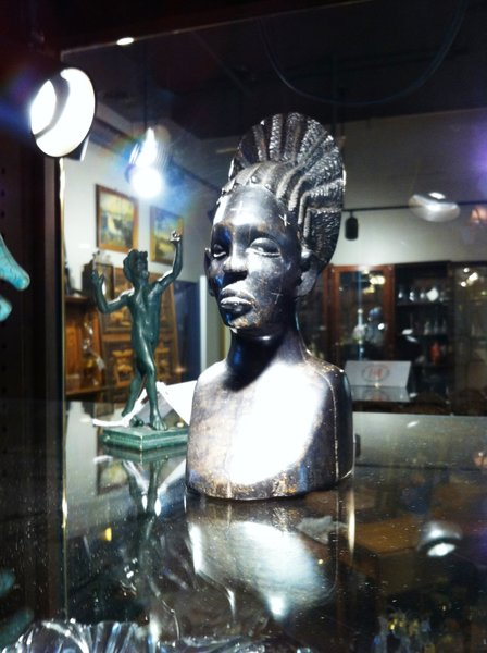 African Hand Carved Ebony Bust