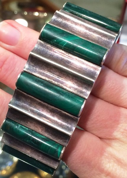 Sterling Silver and Malachite 1950's Vintage Bracelet by Artist Monteros, Made in Mexico