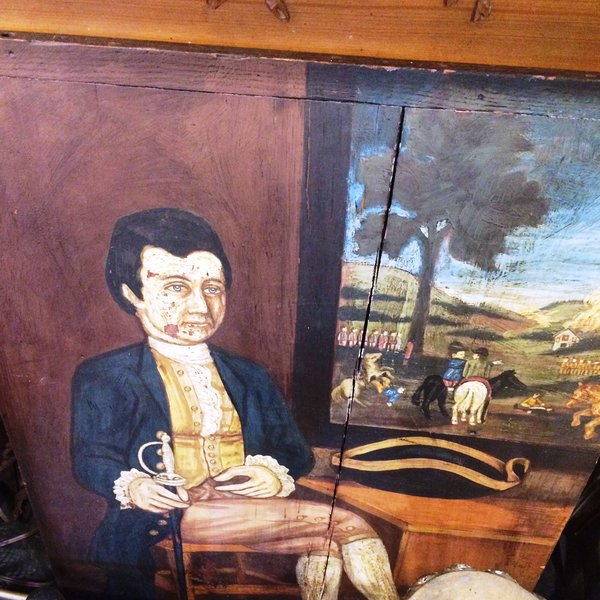 Oil on Board Painting of Colonial Era Gentleman with Military Scene in Background.