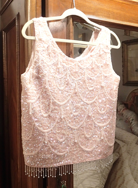 Pink Sequin and Beaded 1950's Top