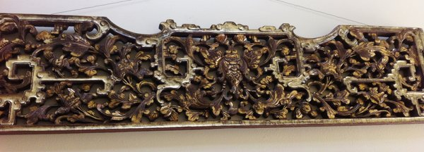 Chinese Antique Late 19th Early 20th Century Ornate Gilded Hand Carved Fragment from Opium Bed
