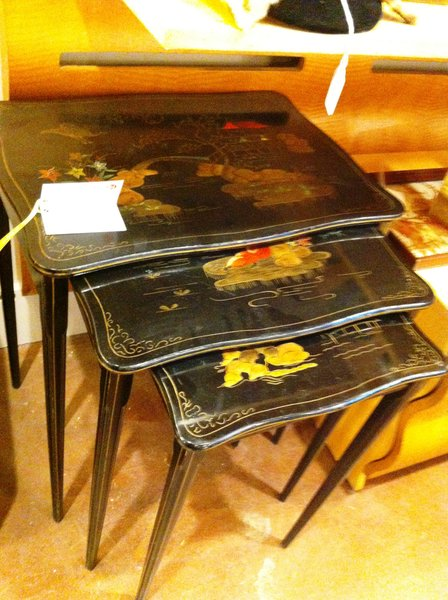Black Lacquer Nesting Tables Painted with Asian Motif