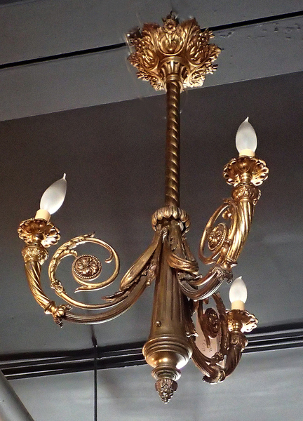 Antique Electrified Gas Chandelier. Gilt Solid Bronze Beautiful Cast, Powder Room, Entrance Room
