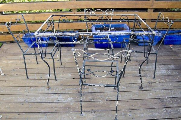 Vintage Black Wrought Iron Dining Set