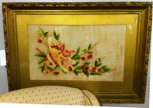 Framed American Victorian Antique Embroidery, Silk on Linen of Hat with Cherries