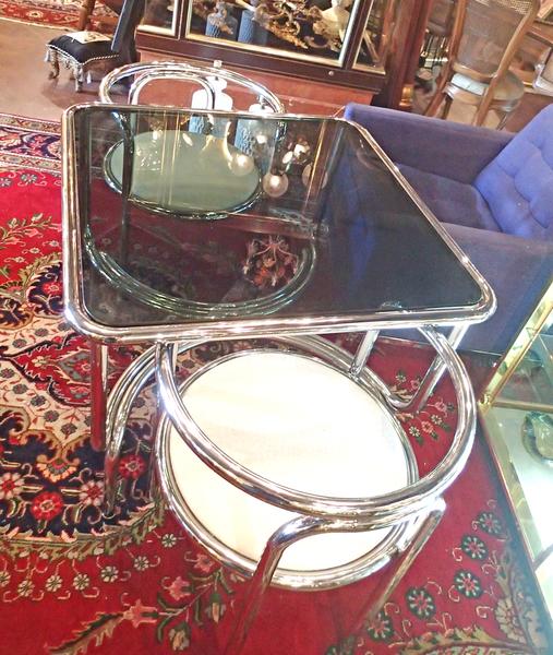 Italian Modern Mid-Century Stendig 3-piece Cafe Set, Chrome, Glass, White Faux Ostrich