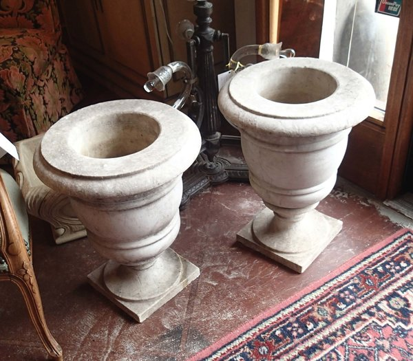 18th Century Antique Pair of Urns, Hand Turned White Marble
