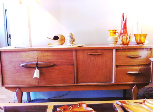 Danish Midcentury Credenza with Drop Down Bar
