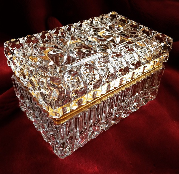 French Antique Cut Crystal Casket / Jewelry Box