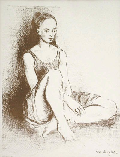 "Framed lithograph ""Ballet Dancer"" by Moses Soyer circa 1960"
