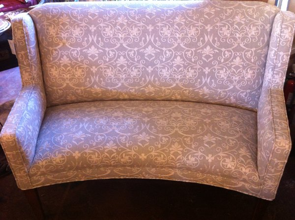 Settee, with High Back, Reupholstered in Linen with Crewel Work, Vintage