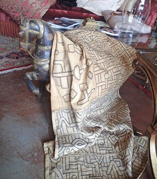 African 1920's Antique Long Piece of Kuba Skirt