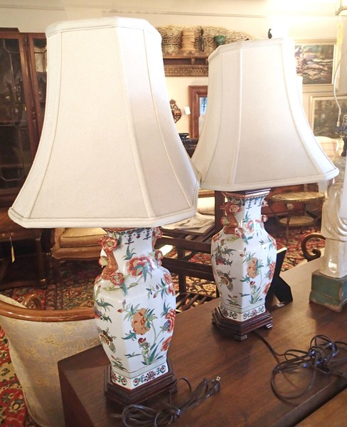 Chinese Hand Painted Porcelain Lamps with Glazed Flowers and Raised Faux Bois