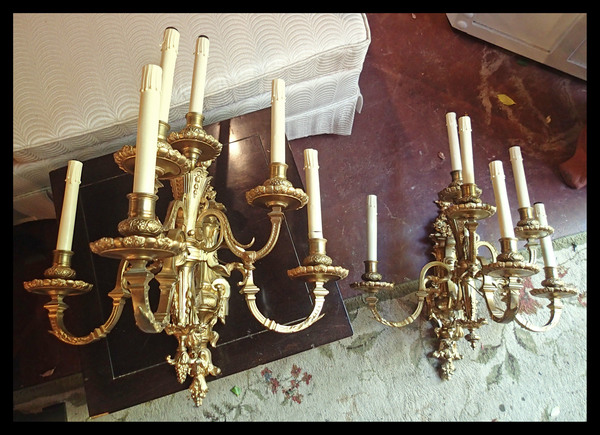 1850's Large Bronze Gilt Wall Candle Sconces - Electrified, Pristine Condition