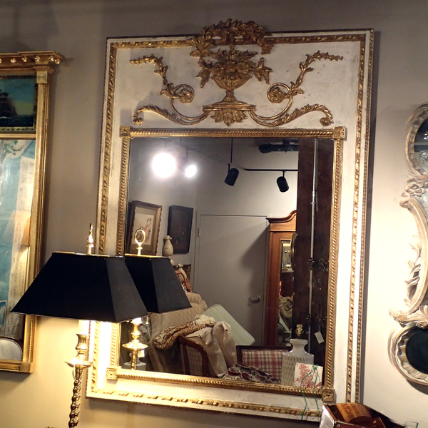 Neoclassical Style Carved Wood, White with Gilt Mirror