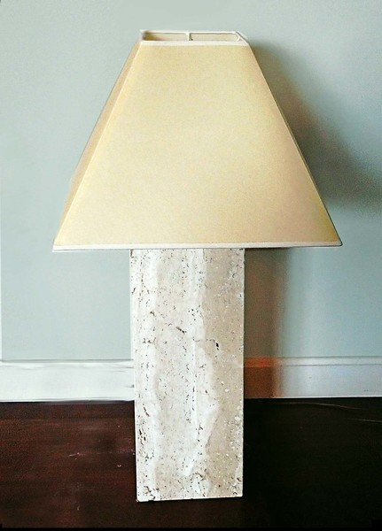 1970's Travertine Base Table Lamp