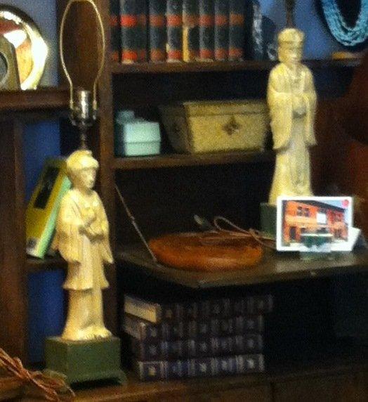 Art Deco Antique Oriental Figural Lamps, One Man, One Woman, White Ceramic, Verdigris Wooden Base