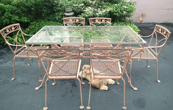 Vintage 50's Saltarini Wrought Iron Garden Dinning Set W/ Six Chairs