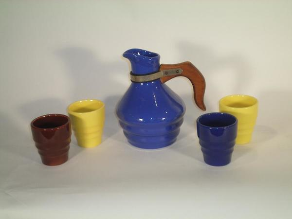 Bauer Ceramic Pitcher and 4 Cups