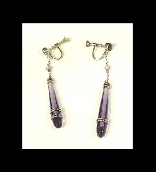 1920's Antique Teardrop Amethyst w/ Marcasite Earrings. As Is.