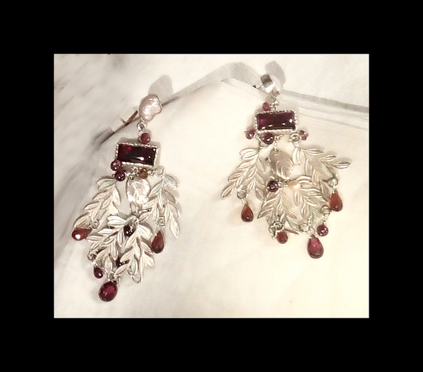 Sterling Silver Garnet and Pearl Earrings by Amy Plant