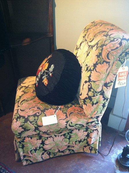Vintage Cut Velvet Slipper Chair