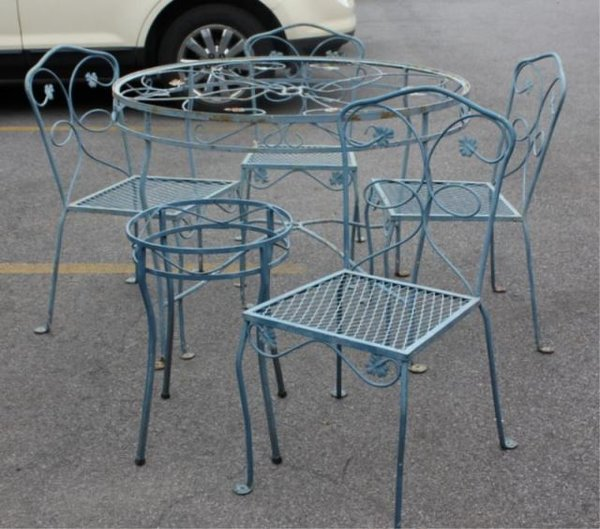Vintage Iron Outdoor Furniture Set With Leaf Motifs
