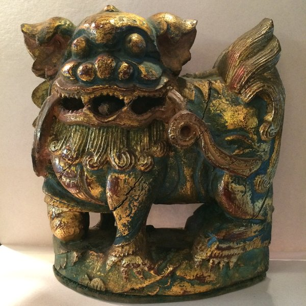 Foo Dog, Late 18th Century Carved and Painted, Lovely Aged Patina