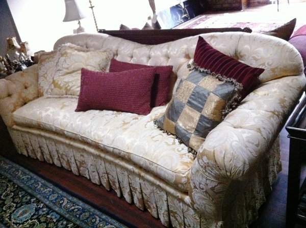 Tufted Silk Damask Sofa