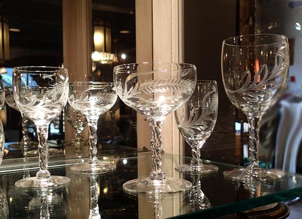 Large Set of Vintage Cut Crystal Glassware