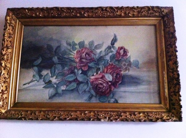 Framed Watercolor of Roses, Gilt Gesso Frame