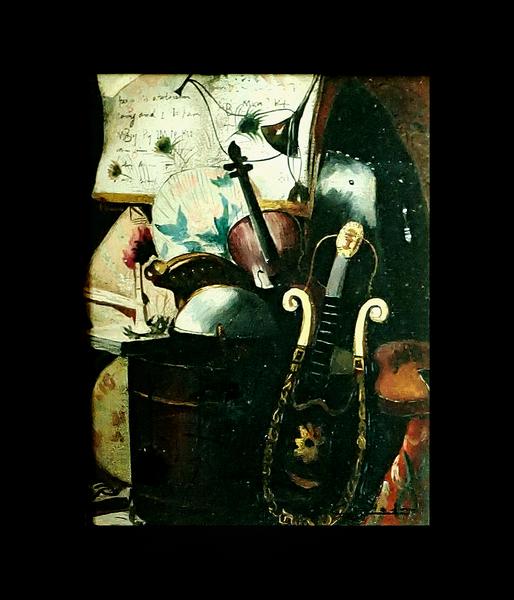 Framed Flemish Style Still Life on Canvas
