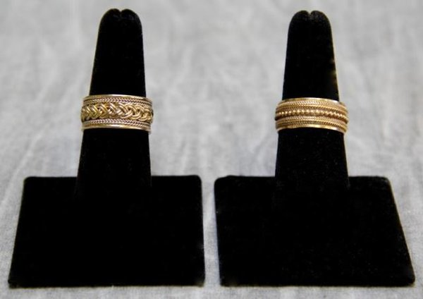 Wedding Rings, Coordinating Pair of Bands, 14Kt Yellow Gold, Handmade