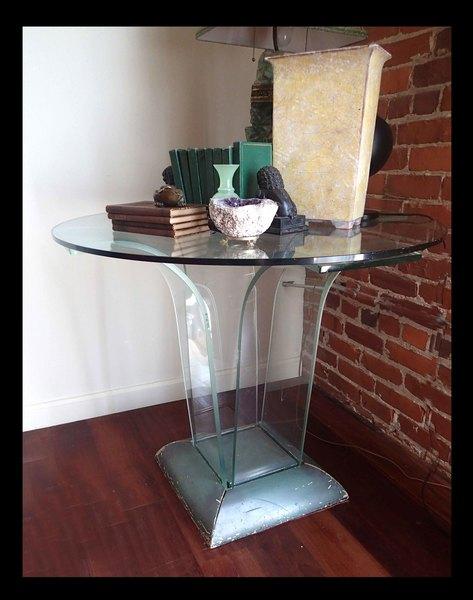 Art Deco Antique Bent Glass Table