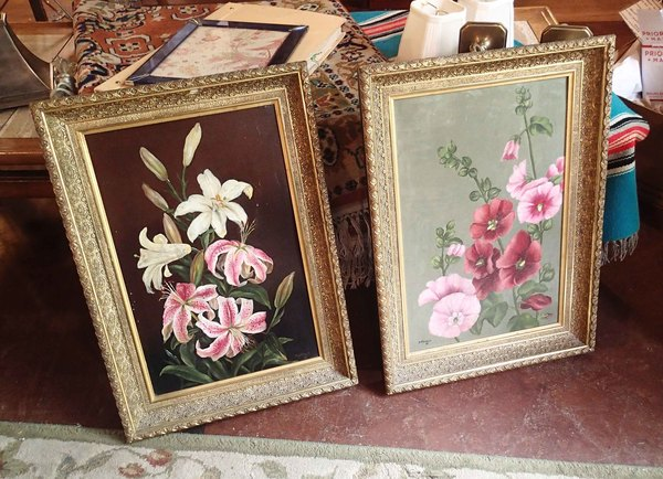 Framed Pair of Victorian Flower Paintings by H. Gesalt 1881