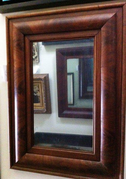 19th Century Antique American Empire Burled Mahogany Mirror